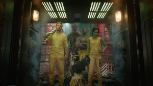 Marvel's Guardians Of The Galaxy..L to R: Star-Lord/Peter Quill (Chris Pratt), Groot (Voiced by Vin Diesel), Rocket Racoon (Voiced by Bradley Cooper), Drax the Destroyer (Dave Bautista) and Gamora (Zoe Saldana).  (Marvel 2014)
