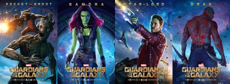 Cast Posters featuring all 5 Guardians (Marvel 2014)